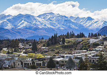 Beautiful scenic of wanaka town most popular traveling...