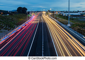 Expressway Light Trails Kapiti - Traffic light trails...