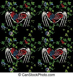 Seamless pattern of a skeleton hands making heart