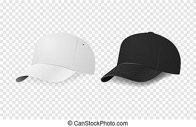 White and black baseball cap icon set. Design template...