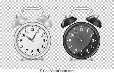 White and black alarm clock icon set. Design template closeup in vector. Mock-up for branding and advertise isolated on transparent background.