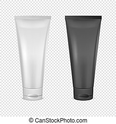 White and black cream tube icon set. Design template closeup in vector. Mock-up for branding and advertise isolated on transparent background.