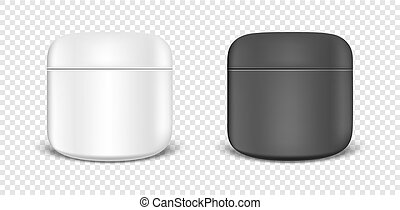 White and black cream jar icon set. Design template closeup in vector. Mock-up for branding and advertise isolated on transparent background.
