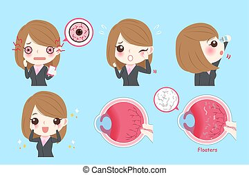 businesswoman with eye problem - cartoon businesswoman with...