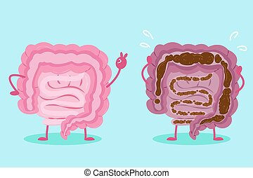 intestine with health concept - cute cartoon intestine with...