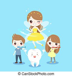 children and tooth fairy - cute cartoon children smile...