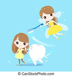 cute girl with tooth fairy - cute cartoon girl with tooth...