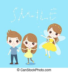 cartoon children with tooth fairy - cute cartoon children...