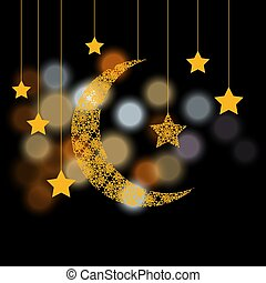 Ramadan. Crescent with the stars. Background of color glare. illustration