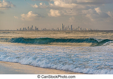 Gold Coast skyline view from Coolangatta beach. Queensland,...
