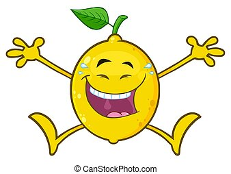 Laughing Yellow Lemon Fresh Fruit With Green Leaf Cartoon Mascot Character Jumping