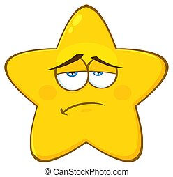Sadness Yellow Star Cartoon Emoji Face Character With...