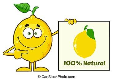 Smiling Yellow Lemon Fresh Fruit With Green Leaf Cartoon...