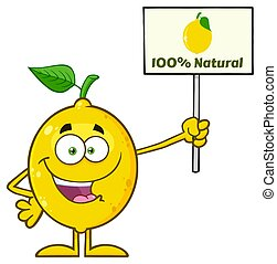 Talking Yellow Lemon Fresh Fruit With Green Leaf Cartoon...