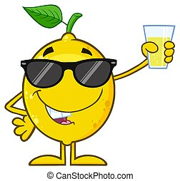Yellow Lemon Fresh Fruit With Green Leaf Cartoon Mascot Character With Sunglasses Presenting And Holding Up A Glass Of Lemonade