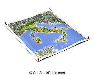 Italy on unfolded map sheet. - Italy on unfolded map sheet...