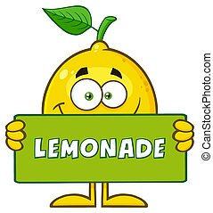 Smiling Yellow Lemon Fresh Fruit With Green Leaf Cartoon Mascot Character Holding A Banner With Text Lemonade