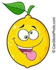 Mad Yellow Lemon Fruit Cartoon Emoji Face Character With Crazy Expression And Protruding Tongue