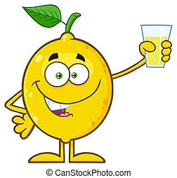 Yellow Lemon Fresh Fruit With Green Leaf Cartoon Mascot Character Presenting And Holding Up A Glass Of Lemonade