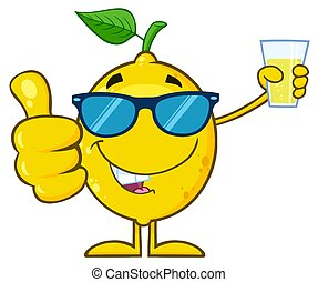 Yellow Lemon Fresh Fruit With Green Leaf Cartoon Mascot Character With Sunglasses Holding A Glass Of Lemonade And Giving A Thumb Up