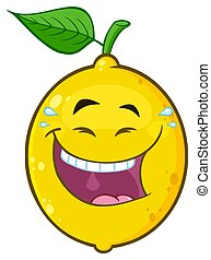 Happy Yellow Lemon Fruit Cartoon Emoji Face Character With Laughing Expression