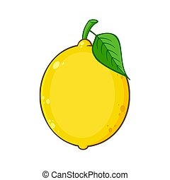 Yellow Lemon Fresh Fruit With Green Leaf Cartoon Drawing....