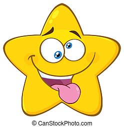 Mad Yellow Star Cartoon Emoji Face Character With Crazy Expression And Protruding Tongue