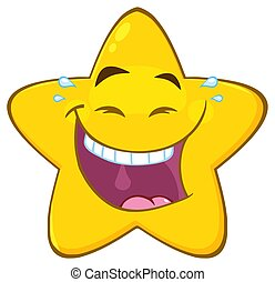 Happy Yellow Star Cartoon Emoji Face Character With Laughing Expression