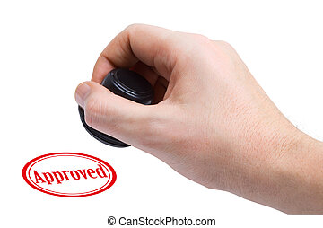Hand and rubber stamp Approved isolated on white background