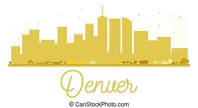Denver City skyline golden silhouette.