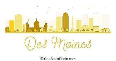 Des Moines City skyline golden silhouette.