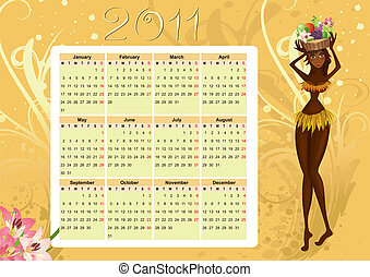 Calendar of native - calendar for 2011 with a native