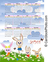 Calendar for 2011 with the hares