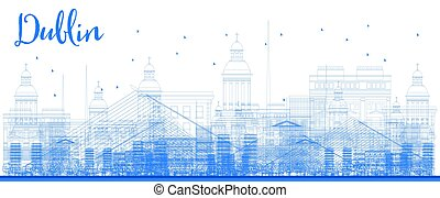 Outline Dublin Skyline with Blue Buildings.