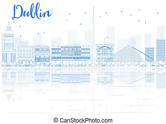 Outline Dublin skyline with blue buildings and reflections....