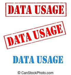 Data Usage-stamps - Set of stamps with text Data Usage,vec...
