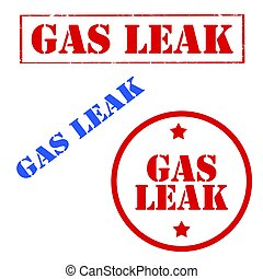 Gas Leak-stamps - Set of stamps with text Gas Leak,vector...