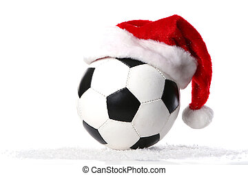 football ball with christmas cap - a football ball with...