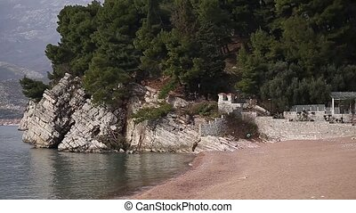 Private beach of the hotel Sveti Stefan, near the island....