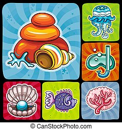 Vector swirl vacation icons, sticker set. Part 2