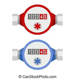 Water Meter Icon Set. Vector - Water Meter Icon Set on White...
