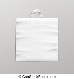 White Empty Reusable Plastic Shopping Bag With Handles....