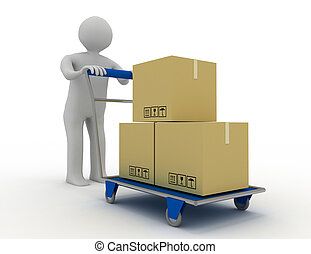 3d people - man, person with shopping cart ( hand trucks ) and cargo boxes  . rendered illustration