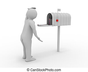 3d man with mail box. mail concpet. rendered illustration