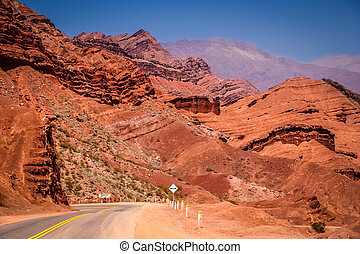 Mountain Road to Cafayate - Road through colourful...