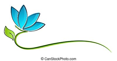 Logo of stylized flower. - A logo of the stylized blue...