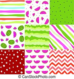 Seamless pattern with watermelon set, scrapbooking, summer...