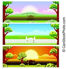 Backyard cartoon background set - Grass and wooden fence on...