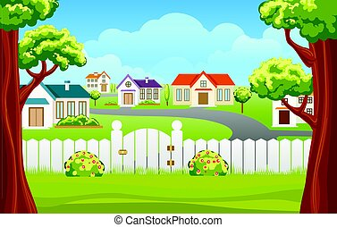 Outdoor backyard background cartoon illustration - Outdoor...