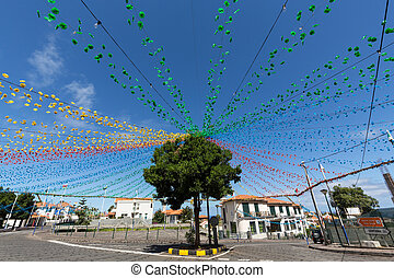 Garlands, street decorations at Madeira Wine Festival in...